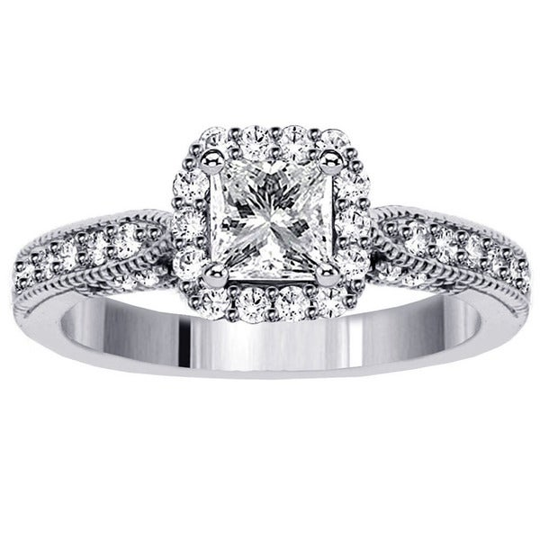 14k White Gold 1 1/5ct TDW Halo Designer Princess-cut Diamond Engagement Ring