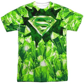 Superman/Kryptonite Shield Short Sleeve Adult Poly Crew in White