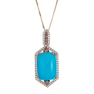 14k Yellow Gold Turquoise and Diamond Pendant by Anika and August