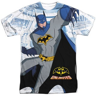 Batman Unlimited/Tech Cave Short Sleeve Adult Poly Crew in White