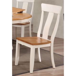 Iconic Furniture Caramel and Biscotti-Finish Wooden Panel-back Dining Chairs (Set of 2)