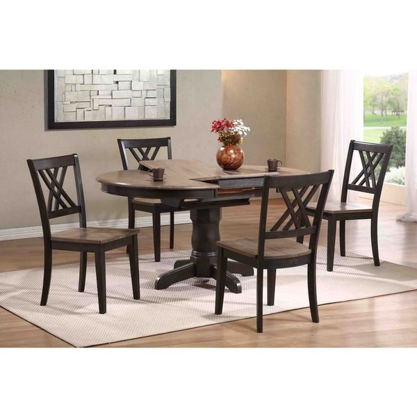 Iconic Furniture Company 5-piece Antique Grey Double X-Back 5-piece Round Dining Set