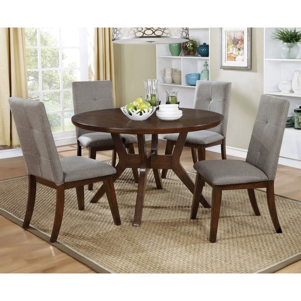 shop furniture of america katrin mid century modern style 48 inch round walnut dining table on. Black Bedroom Furniture Sets. Home Design Ideas