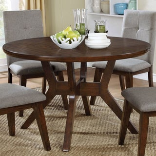 Furniture of America Katrin Mid-Century Modern Style 48-inch Round Walnut Dining Table