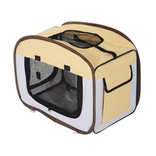 Pawhut Multicolored Nylon Soft-sided Folding Pet Crate Carrier