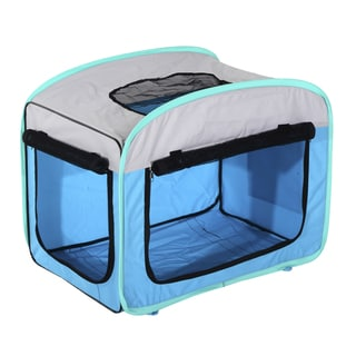 Pawhut Blue 27-inch Soft Sided Folding Pet Crate Carrier