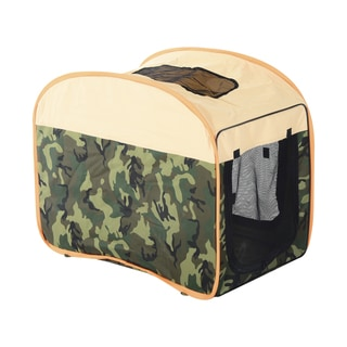 Pawhut Camouflage/Beige/Orange Nylon 31-inch Soft-sided Folding Pet Crate Carrier