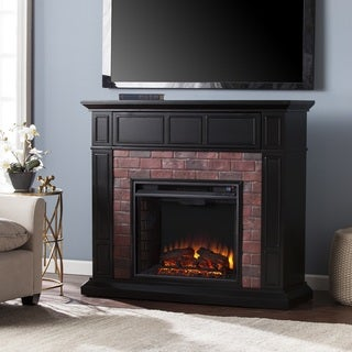 Harper Blvd Kerns Black and Red Faux Brick Electric Media Fireplace
