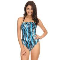 Famous Maker Blue River Nylon Women's Strapless One Piece Swimsuit