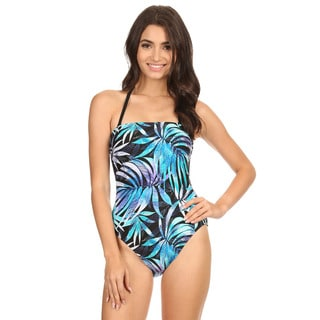 Dippin' Daisy's Women's Blue Leaves Nylon Strapless One Piece Swimsuit