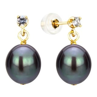 DaVonna 14K Yellow Gold 8-8.5mm Black Cultured Freshwater Pearl 0.10tcw CZ Stud Earrings