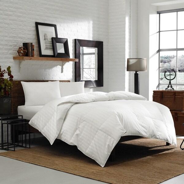 Eddie Bauer 300 Thread Count Fairway Stripe Permabaffle Oversized Down Comforter