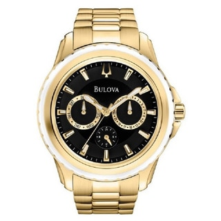 Bulova Uni-Sex 97N104 Yellow Gold Plated Stainless Steel Multi Dial Watch with Luminous Hands and Markers
