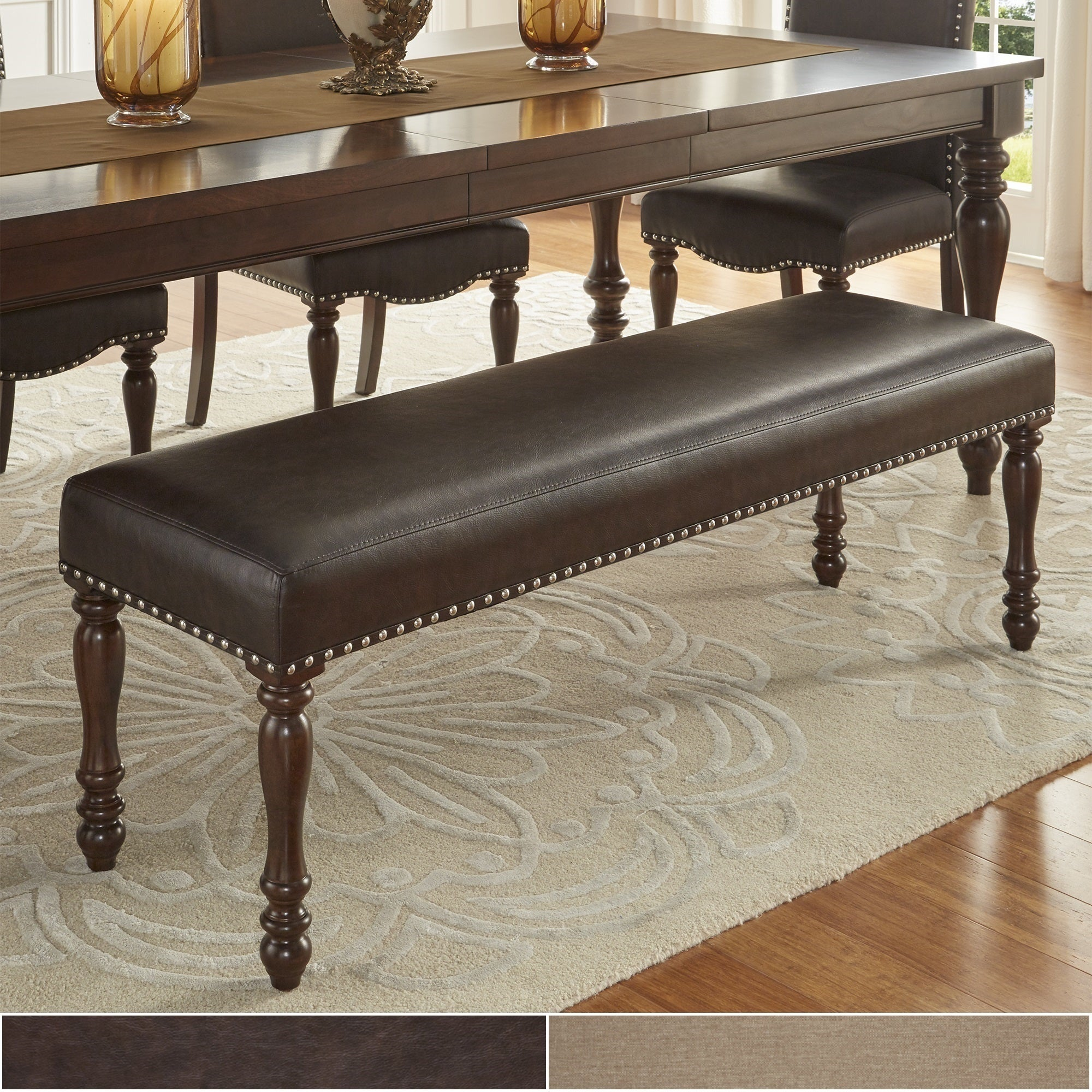 Enjoyable Details About Parisian Nailhead 56 Inch Upholstered Dining Bench By Beige N A Pabps2019 Chair Design Images Pabps2019Com