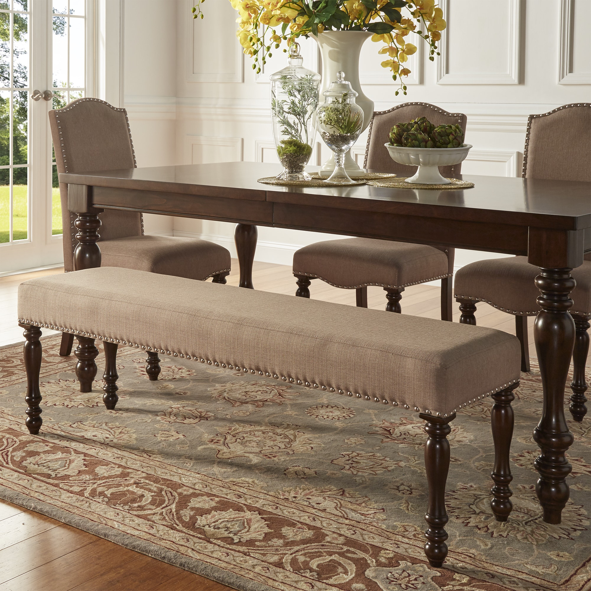Magnificent Parisian Nailhead 56 Inch Upholstered Dining Bench By Inspire Q Classic N A Ibusinesslaw Wood Chair Design Ideas Ibusinesslaworg