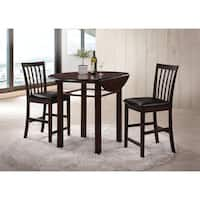 Artie 3-Piece Pack Counter Height Set, Espresso with Black PU Seat