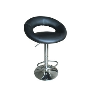 Sybill Black/Chrome Faux Leather/Metal Swivel Adjustable-height Stool (Set of 2)