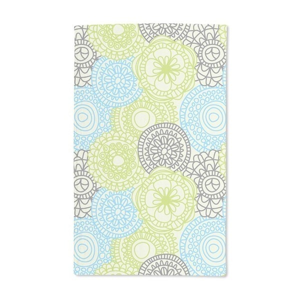 All Over Turquoise Flowers Hand Towel (Set of 2)