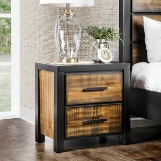 Furniture of America Marson Rustic Two-Tone Black/Oak 2-drawer Nightstand
