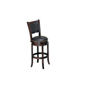 Chelsea Brown Wood/Faux-leather Swivel Bar Chair