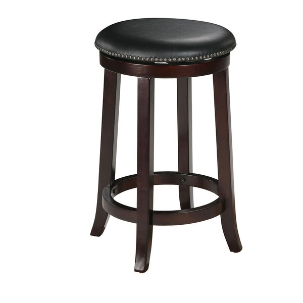 Chelsea Faux Leather And Wood Espresso Finish Swivel Bar Stool Set Of 2