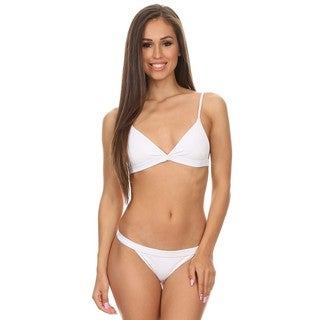 Dippin' Daisy's Women's Solid White Two-piece Over-the-shoulder Triangle Top with Banded Bottom Bikini