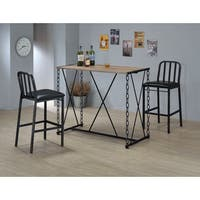 Jodie Bar Black Wood and Metal Rustic Oak Finish Chain-style Table