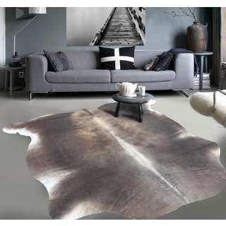 Premium Natural Argentinean Bicolor White/Brown Cowhide Rug (5 'x 7')
