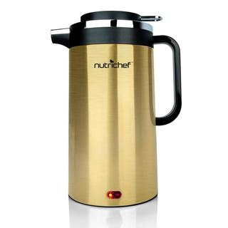 NutriChef Gold/Silver Stainless Steel Electric Cordless Water Kettle