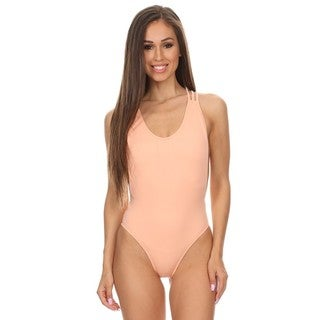 Dippin' Daisy's Women's Solid Melon Strappy Crossback Lowback One Piece