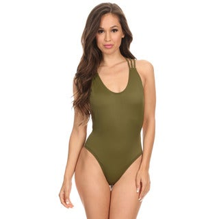 Women's Solid Olive Strappy Cross Low-back 1-piece Swimsuit