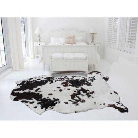 White/Brown/Black Natural Argentinean Cow Hide Rug - 5' x 7'