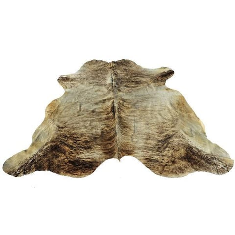 White/Brown 100-percent Natural Argentinean Brindle Cow Hide Area Rug - 5' x 7'