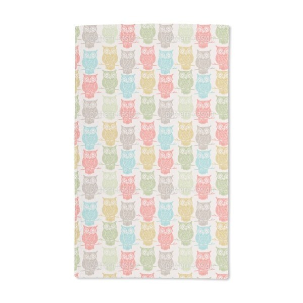 Colored Owls Look Out Hand Towel (Set of 2)