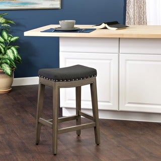 HomePop Blake Nailhead Counter Stool Black Navy