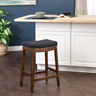 HomePop Blake Nailhead Counter Stool Blue Graphite