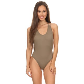 Dippin' Daisy's Women's Solid Taupe Nylon Two-piece Crossback Lowback One Piece Swimsuit