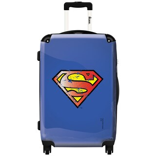 iKase Superman Logo Blue and Mesh 20-inch Vintage Hardside Carry-on Spinner Su