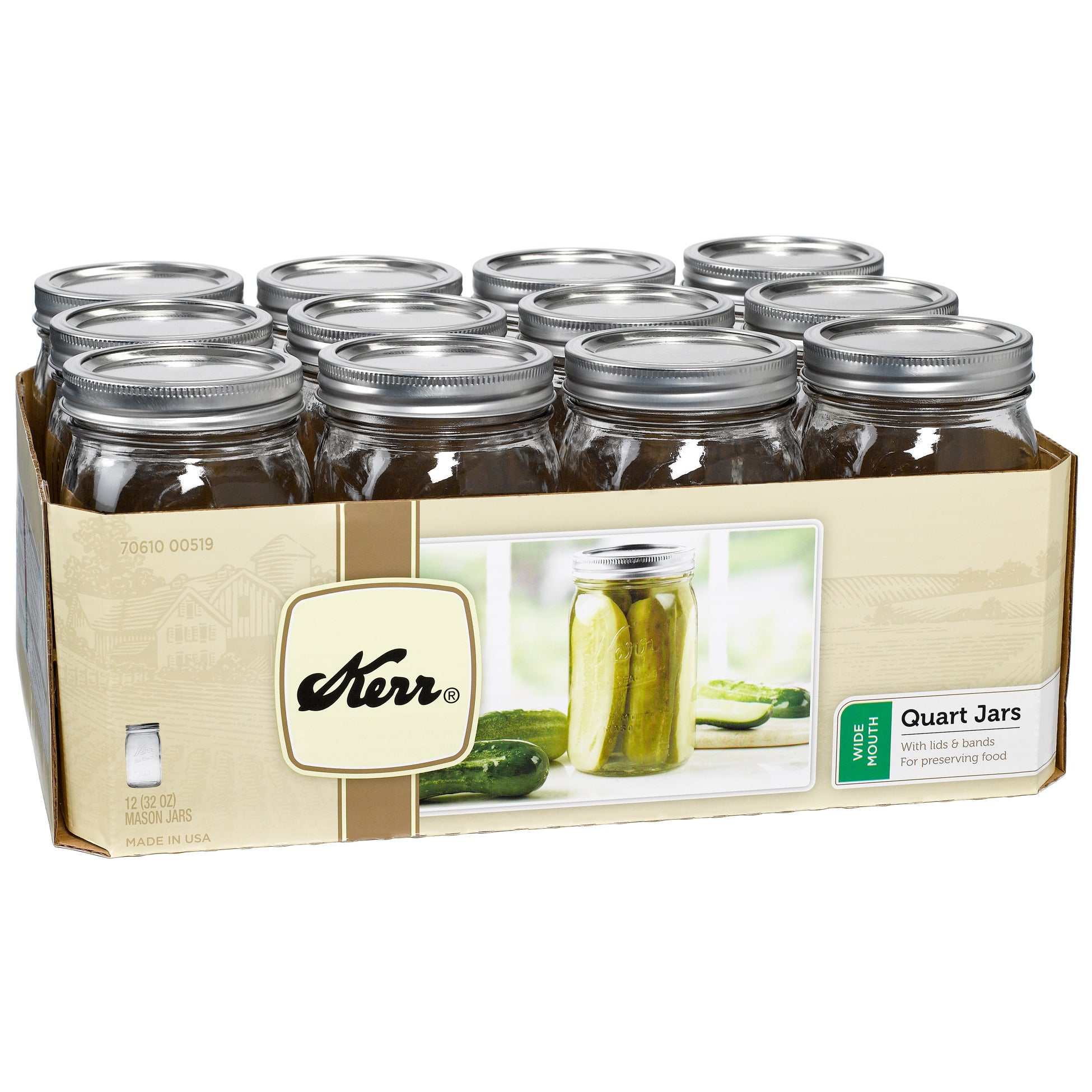 Kerr 00519 1 Quart Wide Mouth Canning Jars (Jar Wd Mouth ...