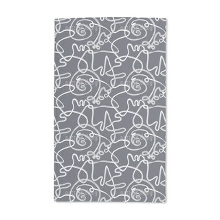 Action Painting Blues Hand Towel (Set of 2)
