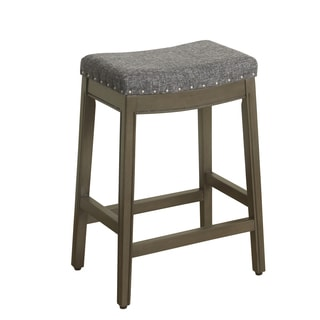 HomePop Blake Nailhead Counter Stool Charcoal