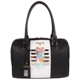 Nicole Lee Brielle Black Colorblock Boston Satchel Handbag