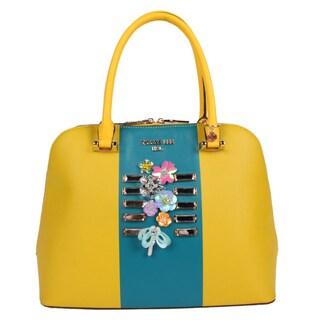 Nicole Lee Brielle Yellow Colorblock Dome Handbag