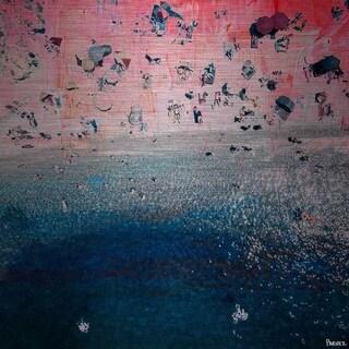 Parvez Taj - 'Pink Sandy Beach' Painting Print on Brushed Aluminum