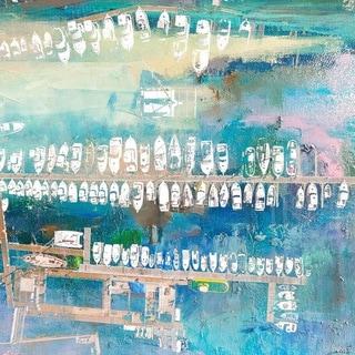 Parvez Taj - 'Docked White Boats' Painting Print on Wrapped Canvas