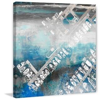 Parvez Taj - 'White Boats Docked' Painting Print on Wrapped Canvas