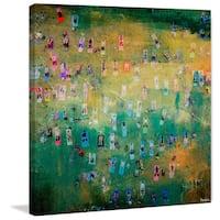 Parvez Taj - 'Yoga in the Park' Painting Print on Wrapped Canvas