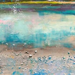 Parvez Taj - 'Sand Pebbles' Painting Print on Wrapped Canvas