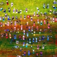 Parvez Taj - 'Group Yoga' Painting Print on Wrapped Canvas - Multi-color