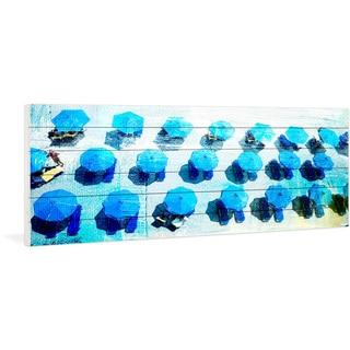 Parvez Taj - 'Umbrellas Blue' Painting Print on White Wood
